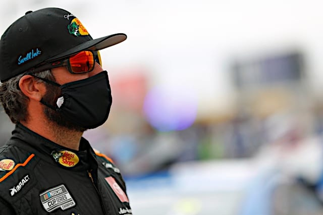 Martin Truex Jr. prepares for a NASCAR Cup Series race at Las Vegas Motor Speedway March 2021 Photo: NKP