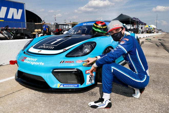 Maxwell Root after winning the pole for the Alan Jay Automotive Network 120, 3/18/2021 (Photo: Courtesy of IMSA)