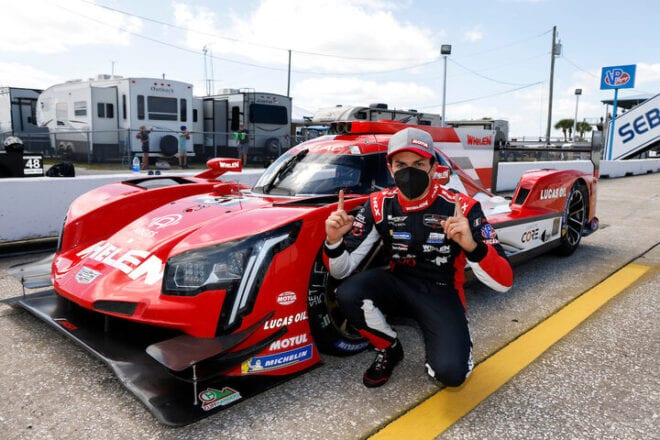 Pipo Derani wins the pole for the Mobil 1 12 Hours of Sebring, 3/19/2021 (Photo: Courtesy of IMSA)