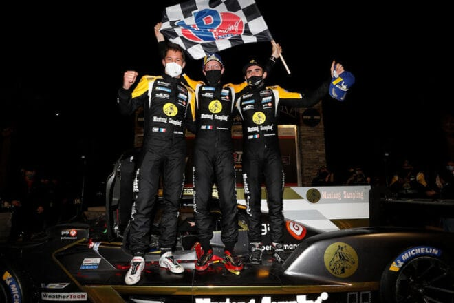 JDC-Miller MotorSports' Sebastien Bourdais, Loic Duval and Tristan Vautier celebrate after winning the Mobil 1 12 Hours of Sebring, 3/20/2021 (Photo: Courtesy of IMSA)