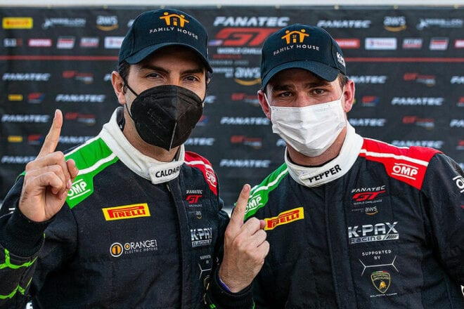 Andrea Caladarelli and Jordan Pepper in Victory Lane at Sonoma Raceway after Round 1 of Fanatec GT World Challenge America powered by AWS at Sonoma Raceway (Photo: K-PAX Racing)