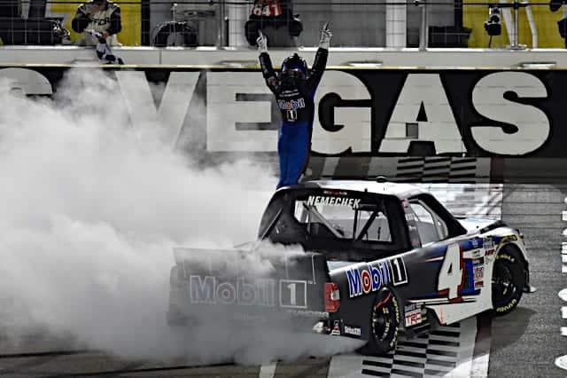 2021 Trucks Las Vegas John Hunter Nemechek, No. 4 Kyle Busch Motorsports Toyota, Burnout (Credit: NKP)