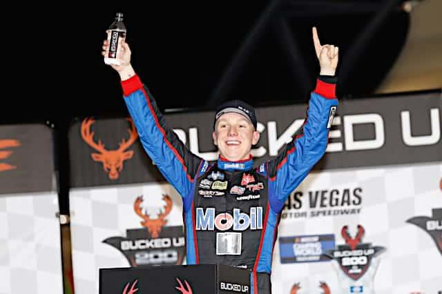 2021 Trucks Las Vegas John Hunter Nemechek, No. 4 Kyle Busch Motorsports Toyota, Victory Lane (Credit: NKP)