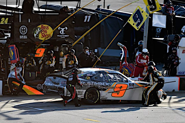 2021 Xfinity Atlanta Noah Gragson, No. 9 JR Motorsports Chevrolet, Pits (Credit: NKP)