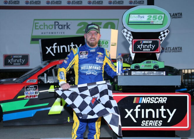2021 Xfinity Atlanta Justin Allgaier, No. 7 JR Motorsports Chevrolet, Victory Lane (Credit: Sean Gardner/Getty Images via NASCAR Media)