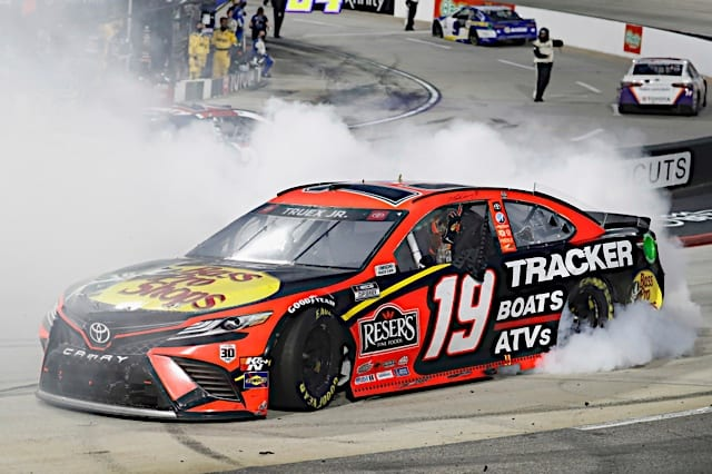 Martin Truex Jr. does a burnout after winning the Blue-Emu Maximum Pain Relief 500, 4/11/2021 (Photo: Nigel Kinrade Photography)